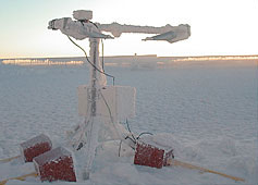 The Vaisala model FD-12P visibility and present weather detector, used for a continuous, 24-hour-a-day record of cloud and precipitation conditions at the summit of Mt. Washington.