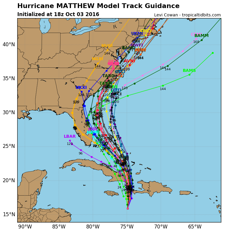 Model guidance for the track of Matthew this afternoon