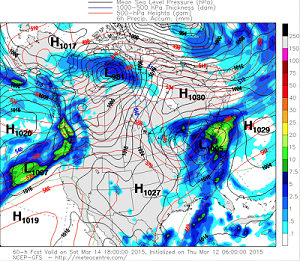 GFS model output 2PM Saturday