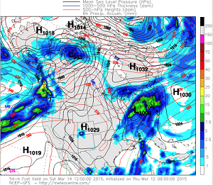 GFS model output 8AM Saturday