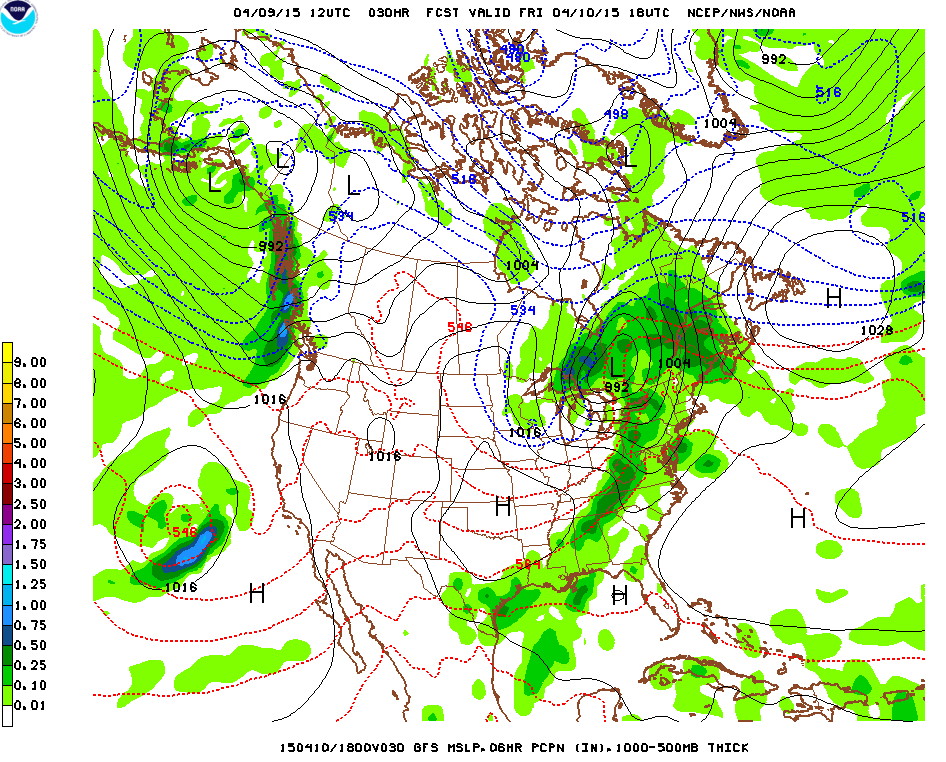 GFS prediction for Friday 2PM