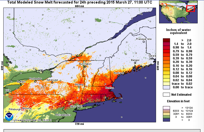 Snow melt over the next 24 hours.